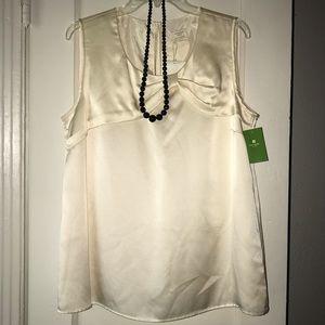 NWT kate spade silk blouse in winter white sz XL